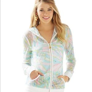 Lilly Pulitzer Tides Mesh Hoodie Zip Up Jacket XS